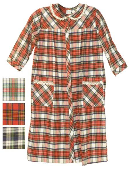 Carol Women's 3/4 Sleeve 100% Cotton Flannel Robe