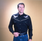 Black With Silver Eagles Embroidered Western Shirt
