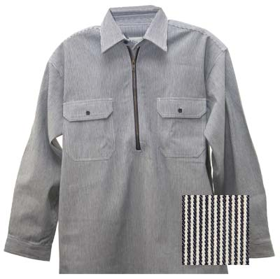 Key Brand Hickory Stripe Zip Front Logger Shirt Long Sleeve