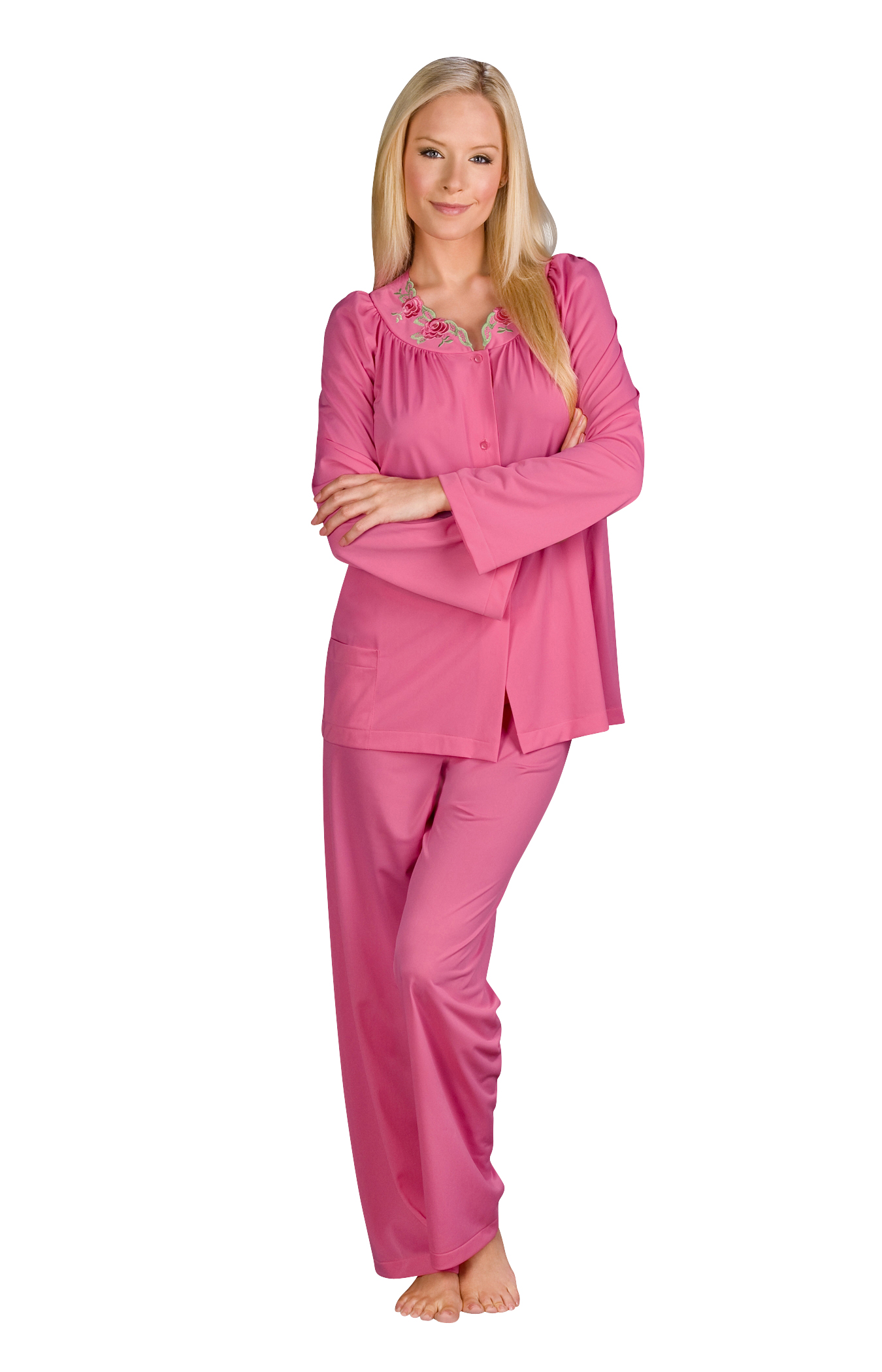 76283 - Shadowline® Petals 100% Nylon Women s Long Sleeve Pajama ... facc8237b