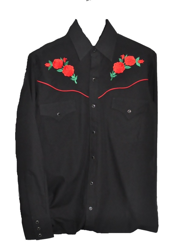 2d7e5363bc 3901 – Men s Black With Red Rose Ely Cattleman® Embroidered Western Shirt