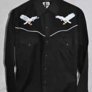 3961 – Men s Black With Silver Eagles Ely Cattleman® Embroidered Western  Shirt d34eb402a