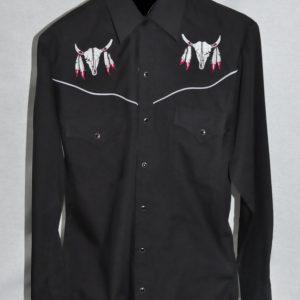 "3919 – Men s Ely Cattleman® Western Wear ""Buffalo Skull"" Embroidered  Western Shirt 54206c410"