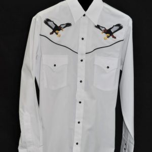 3961W – Men s White With Black Eagles Ely Cattleman® Embroidered Western  Shirt a6ef3a8e9